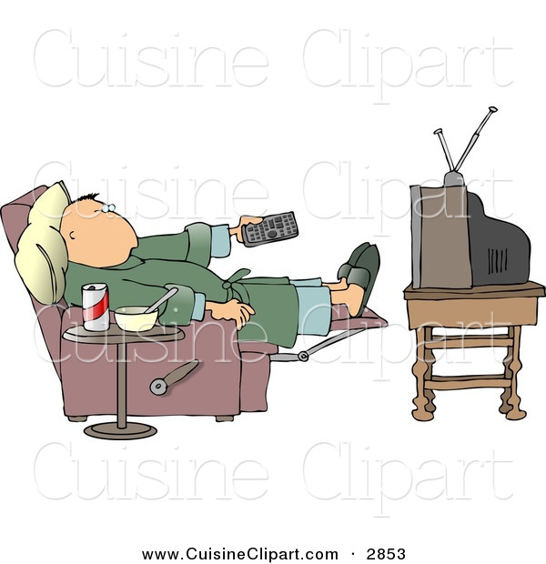 Cuisine of a potato. Lazy clipart couch tv