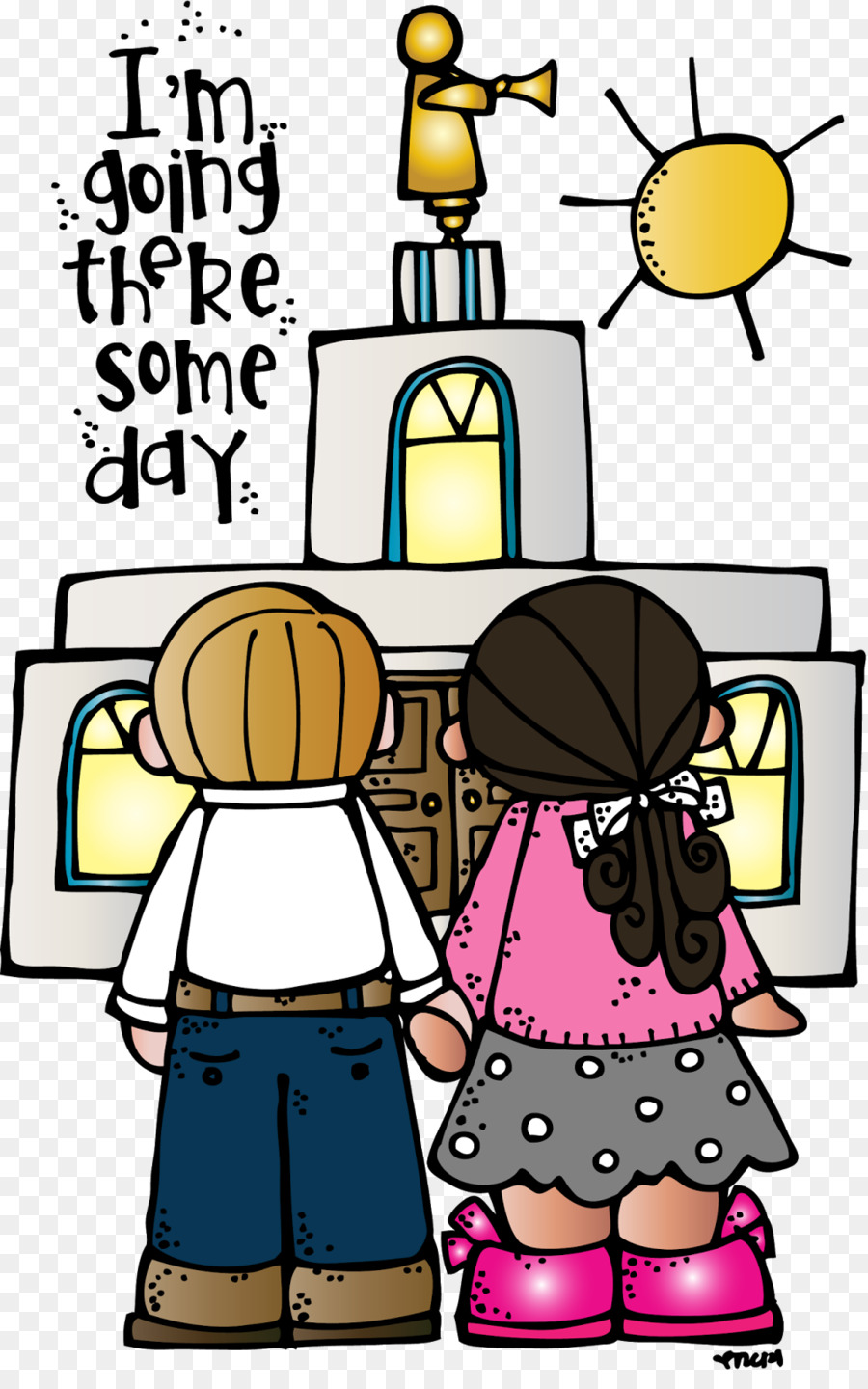 Young women temple clothing. Lds clipart illustration