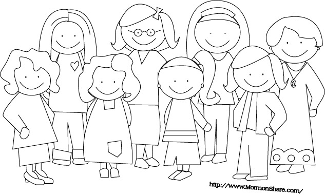 Lds clipart person. Family black and white