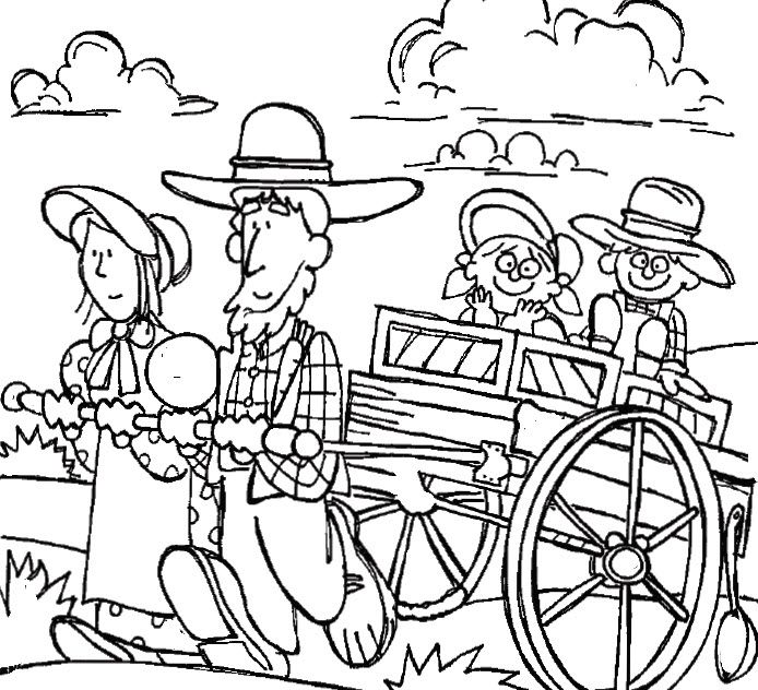 Family coloring page mormon. Wagon clipart pioneer life