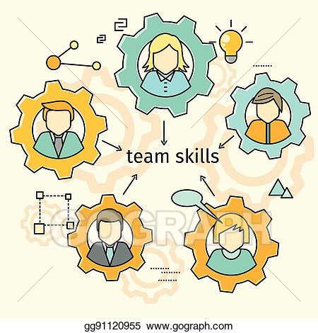 Teamwork clipart ability. Vector stock team skills