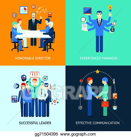 Vector illustration business banners. Leader clipart team manager