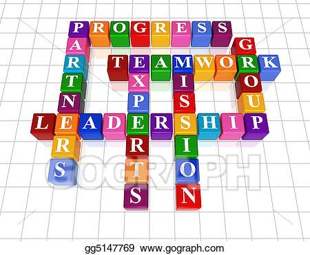 Stock illustration crossword drawing. Leadership clipart