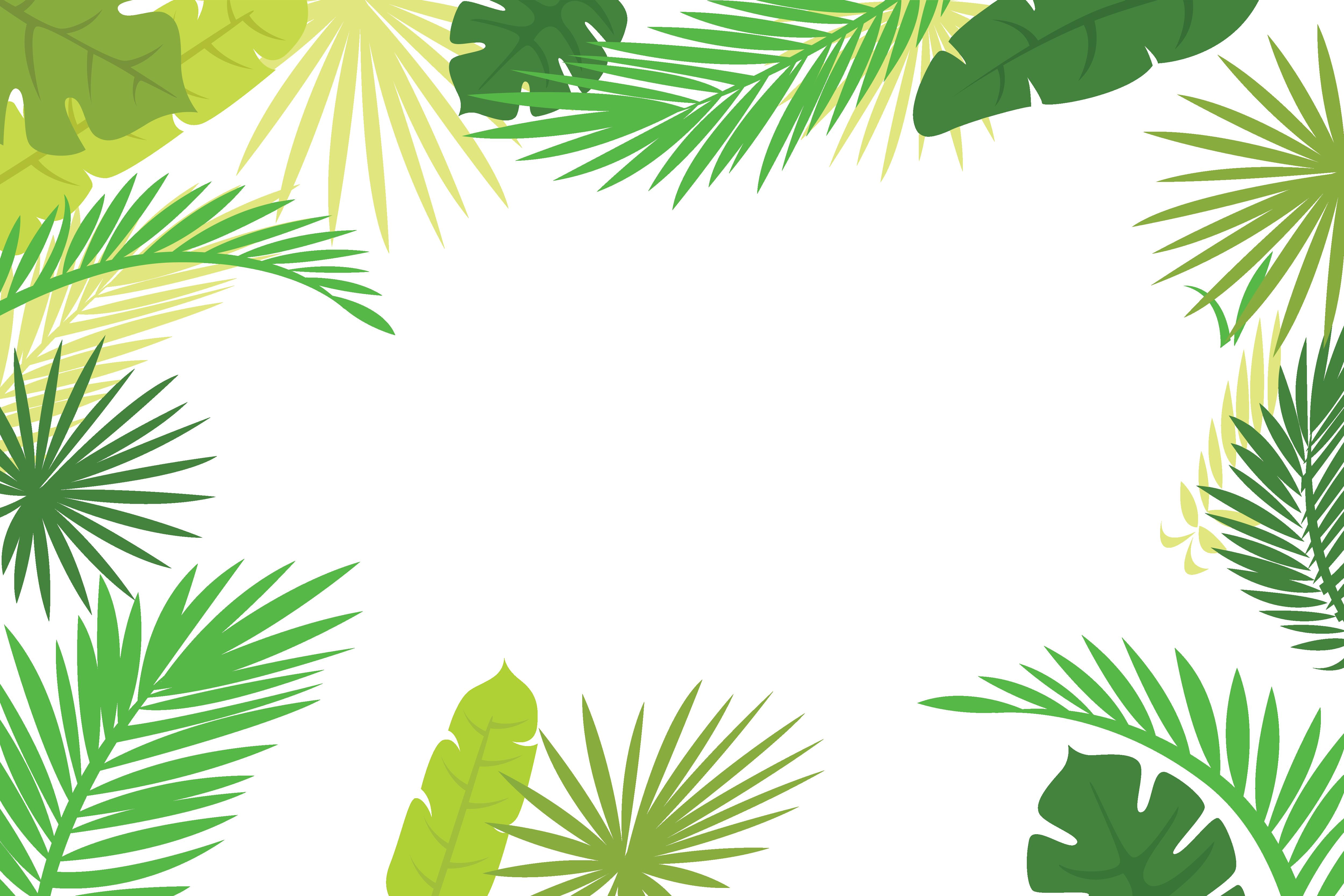 Arecaceae text branch illustration. Leaf border png
