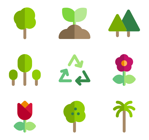 Tree icons free vector. Leaf clipart icon