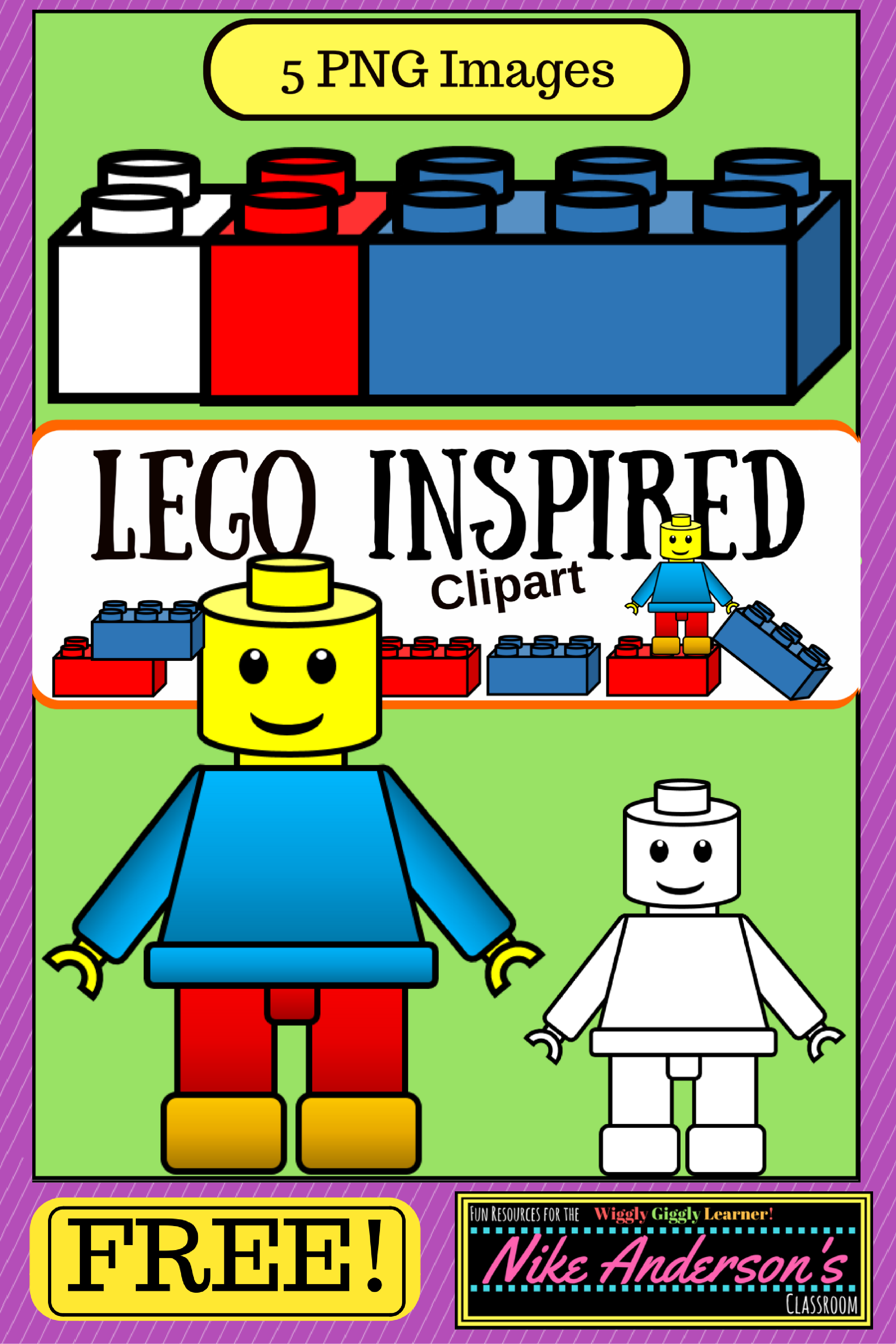 Legos clipart colored. Lego inspired kids freebie
