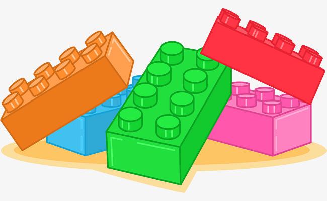 Color lego blocks vector. Legos clipart