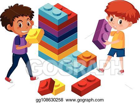 Vector illustration boys playing. Legos clipart play