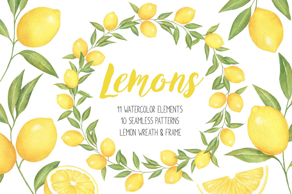 Lemon and watercolor wreath. Lemons clipart citrus