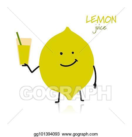 Lemon clipart design cute. Vector art character for