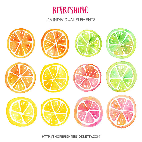 Watercolor fruit tropical summer. Lemons clipart kiwi