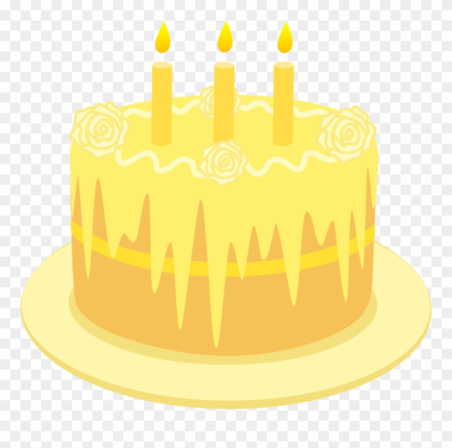 Birthday with candles yellow. Lemon clipart lemon cake