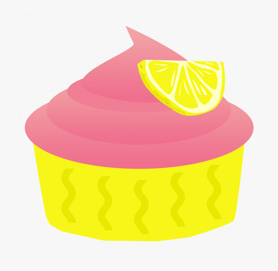 Pink and yellow cupcakes. Lemons clipart lemon cupcake