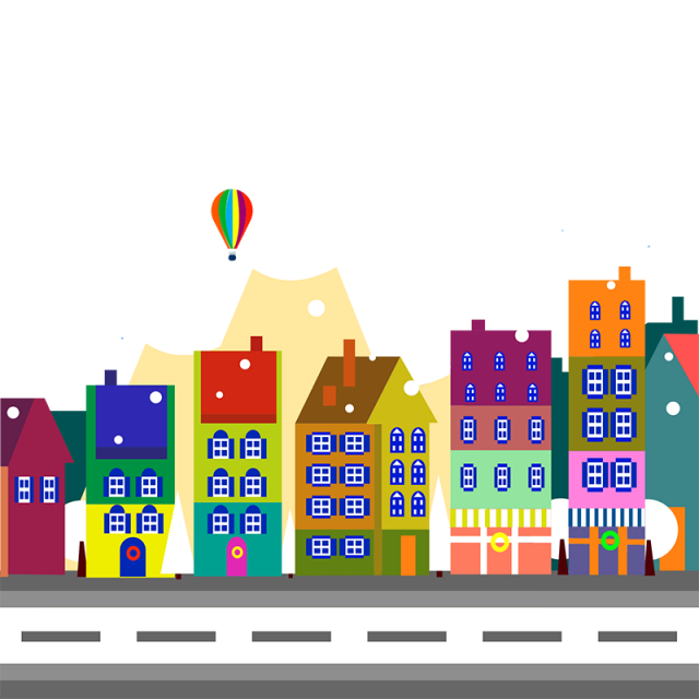 Decorative and psd. City vector png