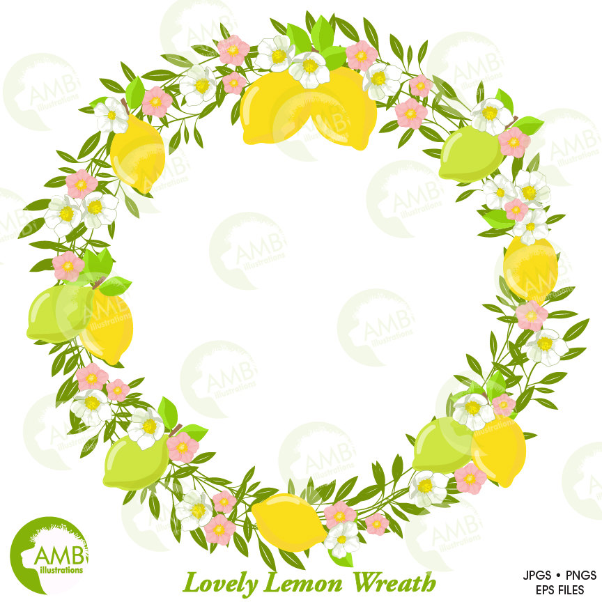 Lemons clipart lemon leave. Lemonade and leaves floral