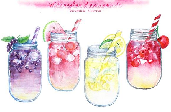 Lemonade clipart. Watercolor illustrations creative market