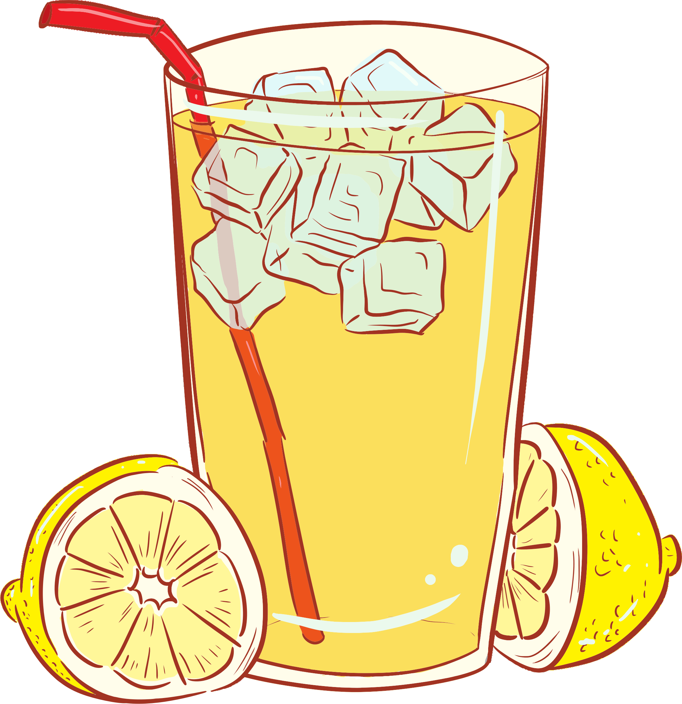 Lemons clipart lemonade. Cold glass of big