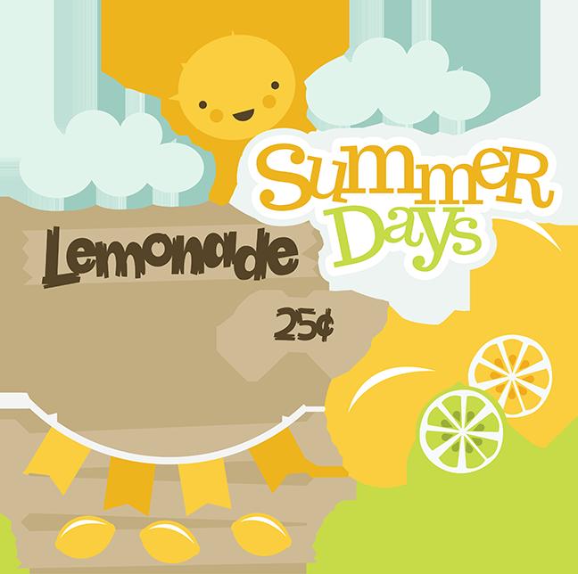 Summer days scrapbooking cut. Lemons clipart svg