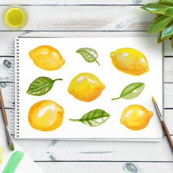 Lemons clipart. Watercolor hand painted citrus