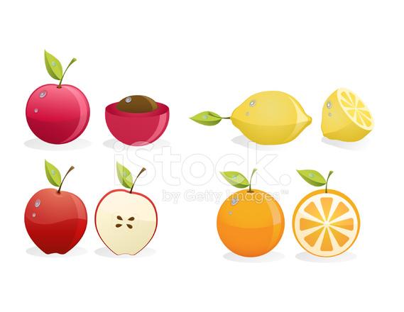 Sliced lemon apple and. Lemons clipart cherry