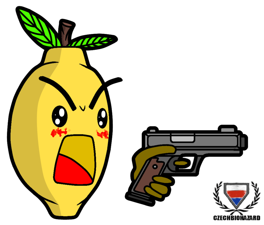 Lemons clipart happy lemon. Chibi with a gun
