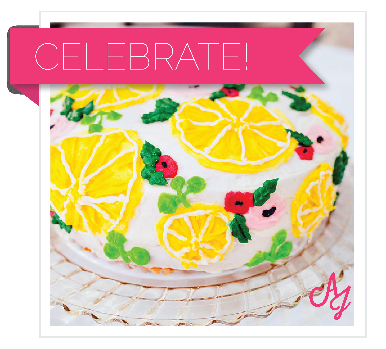 Girly flamingos summer birthday. Lemons clipart lemon cake