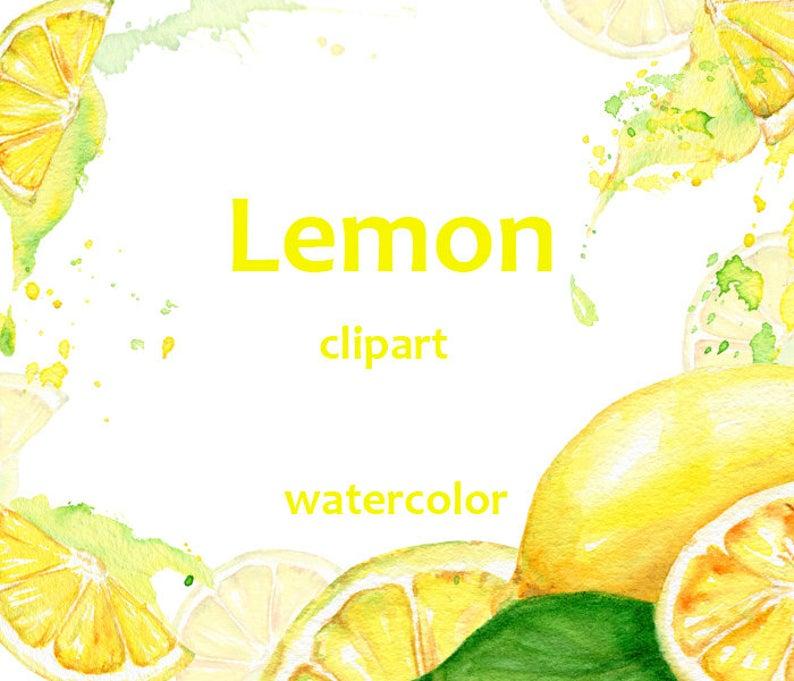 Watercolor juicy wedding clip. Lemons clipart lemon juice