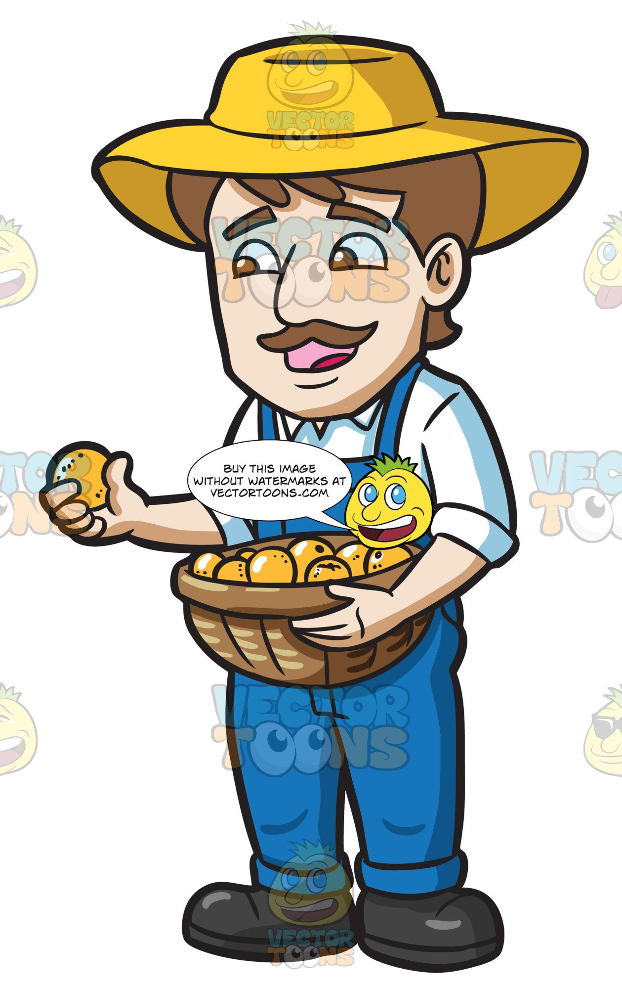 A farmer harvesting . Lemons clipart man