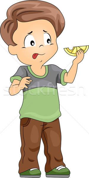 Lemons clipart sour taste. Kid vector illustration lenm