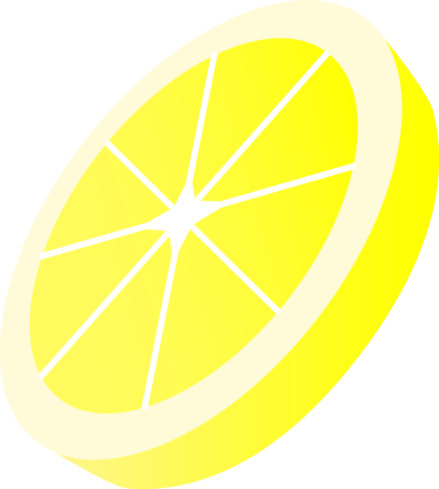 Lemons clipart yellow object. Round lemon slice free