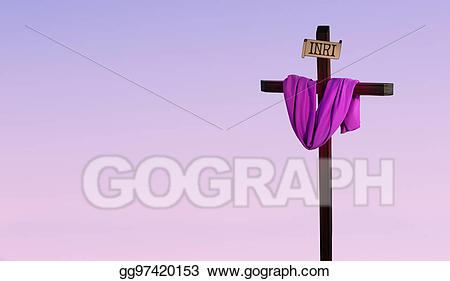 Lent clipart purple easter cross. Draped in represents lenten