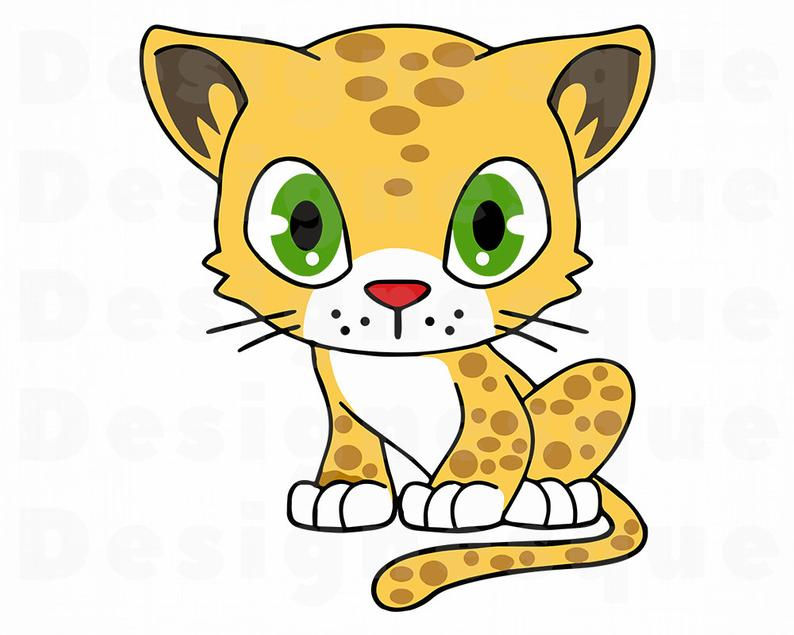 Leopard clipart. Cute svg baby files