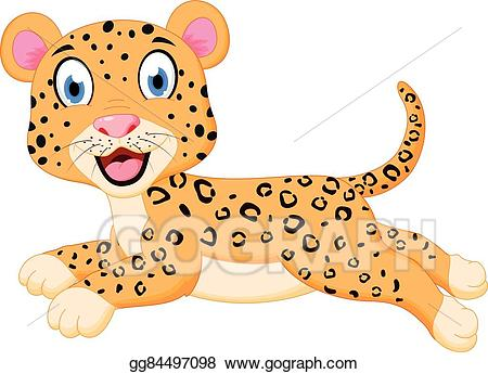 Eps vector cartoon jumping. Leopard clipart cute