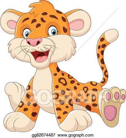 Leopard clipart cute. Vector art baby cartoon