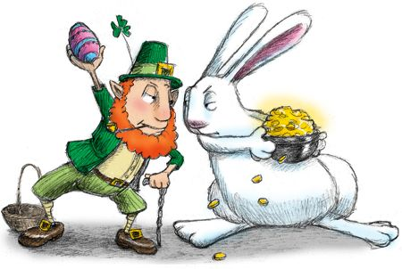Bunnies sketched out page. Leprechaun clipart easter
