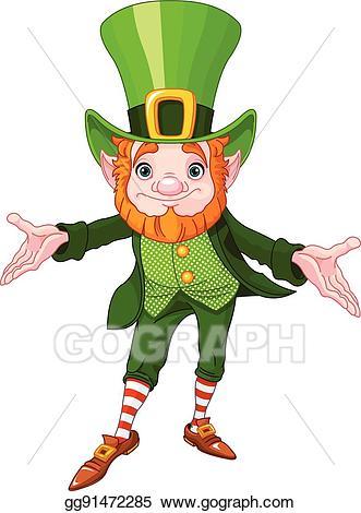 Leprechaun clipart lucky leprechaun. Vector illustration