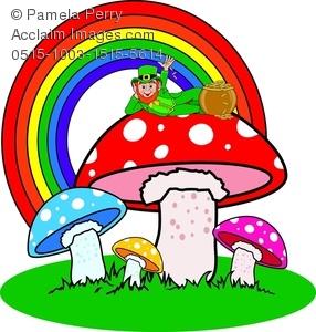 Clip art image of. Mushrooms clipart leprechaun