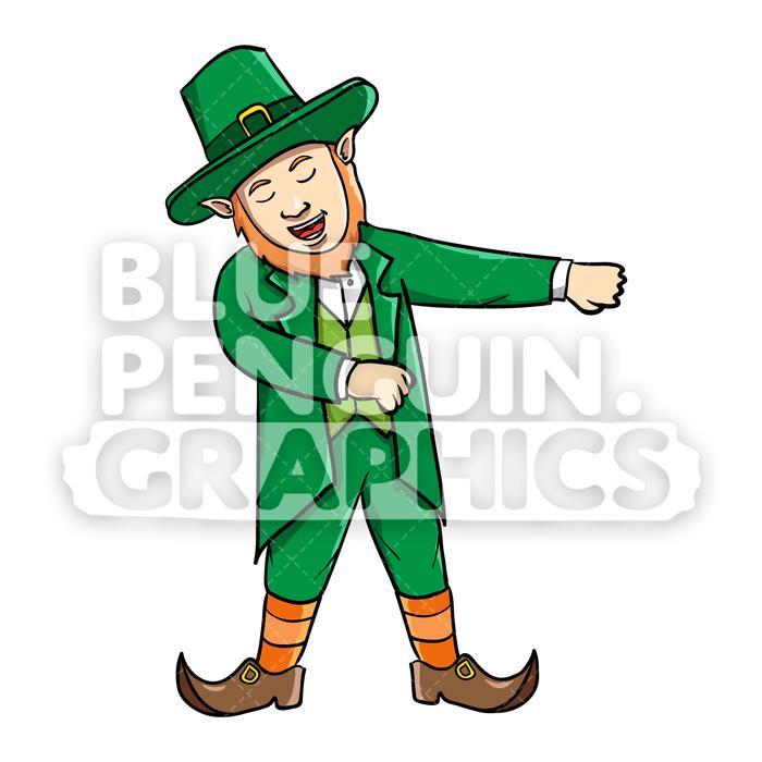 Flossing cartoon illustration . Leprechaun clipart vector