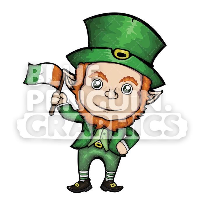 Leprechaun clipart vector. Holding irish flag cartoon