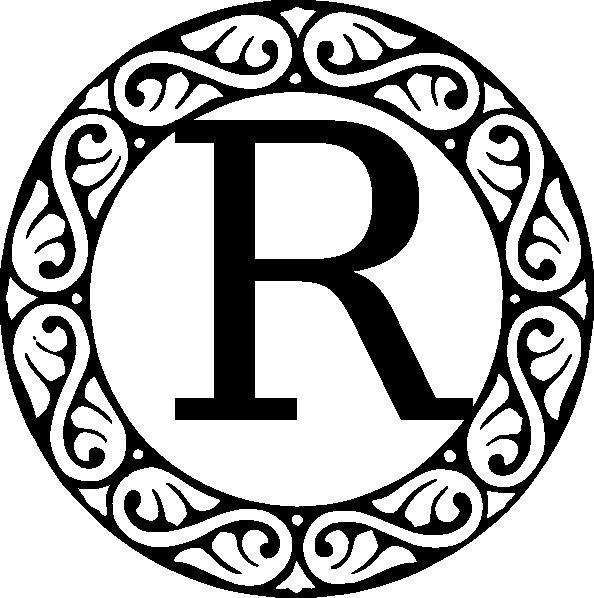 Monogram letter clip art. R clipart rated r