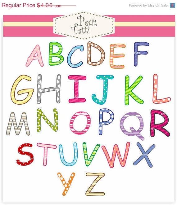 On sale digital alphabet. Letters clipart capital