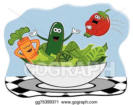 Vector salad illustration gg. Lettuce clipart happy