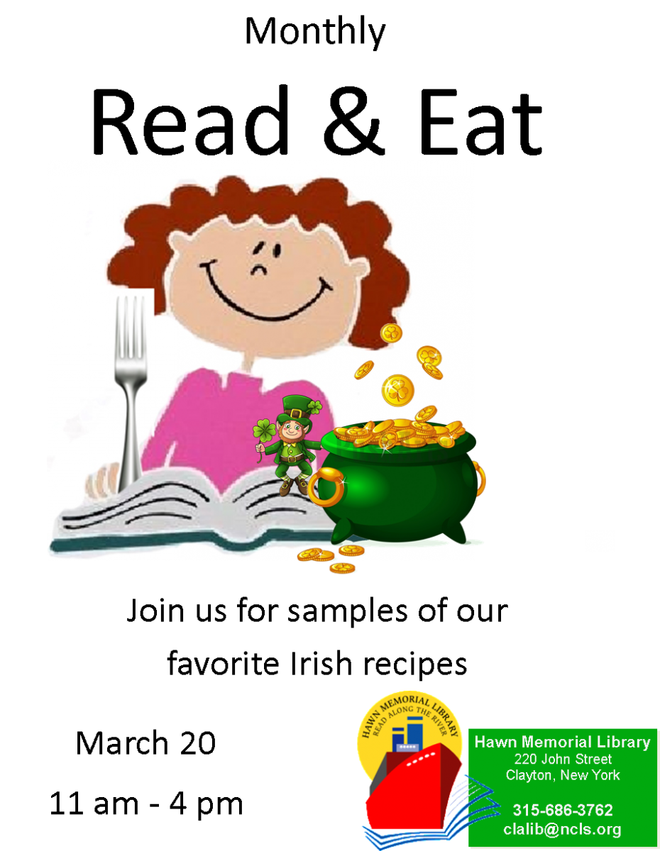 Library clipart month. Read eat irish fare