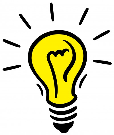 Idea black and white. Light bulb clip art