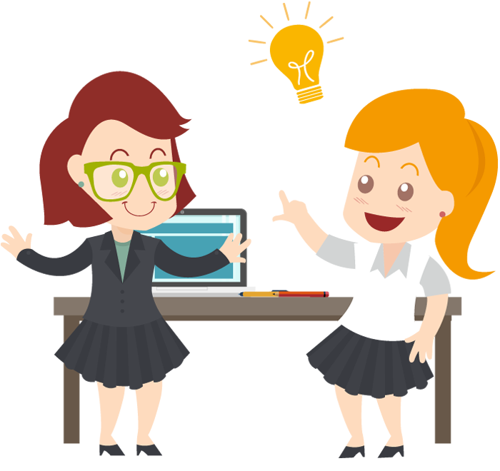 Light bulb clip art creative. Two business woman with