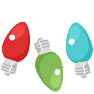 Christmas lights scrapbook cut. Light bulb clip art cute