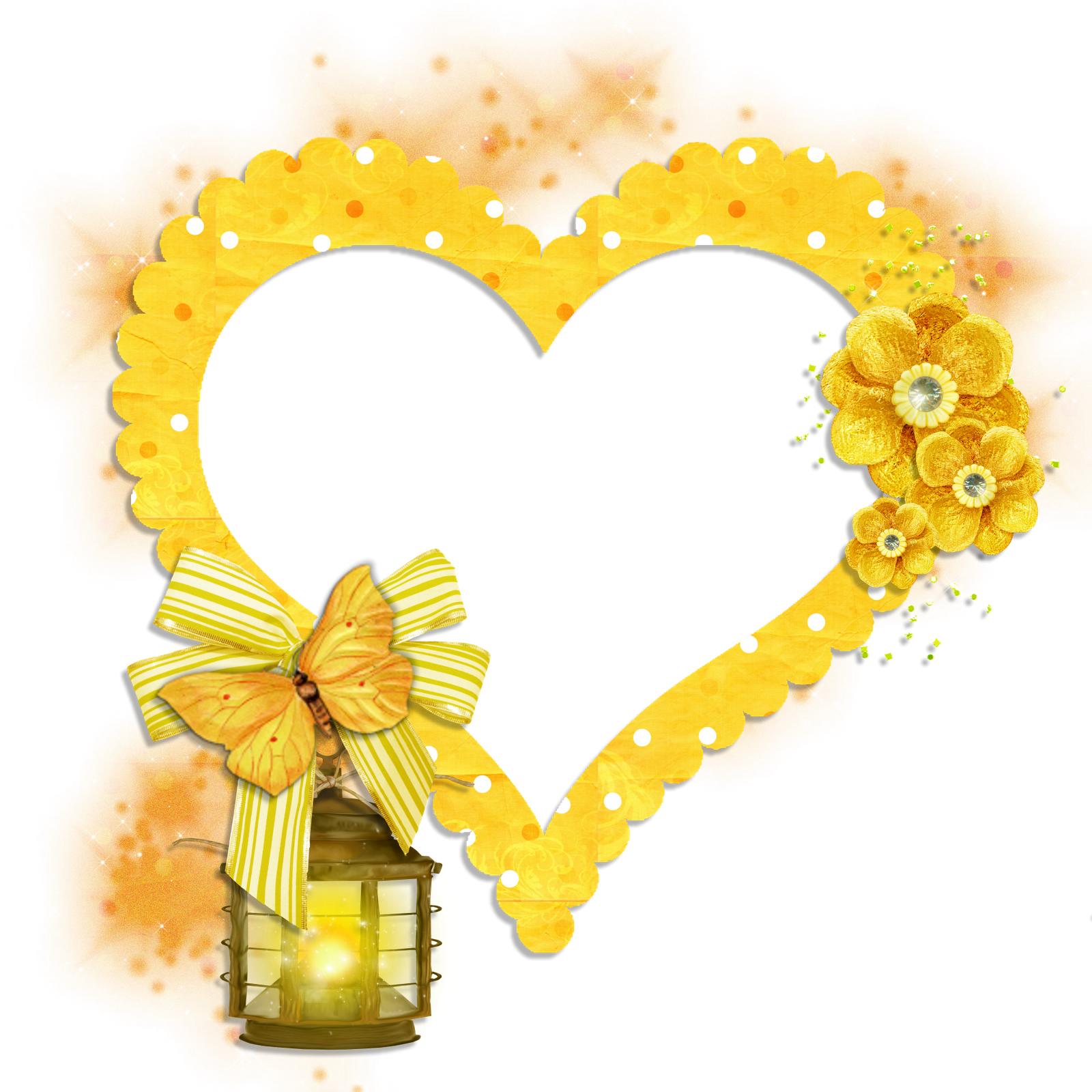 Light bulb clip art heart. Transparent frame yellow with