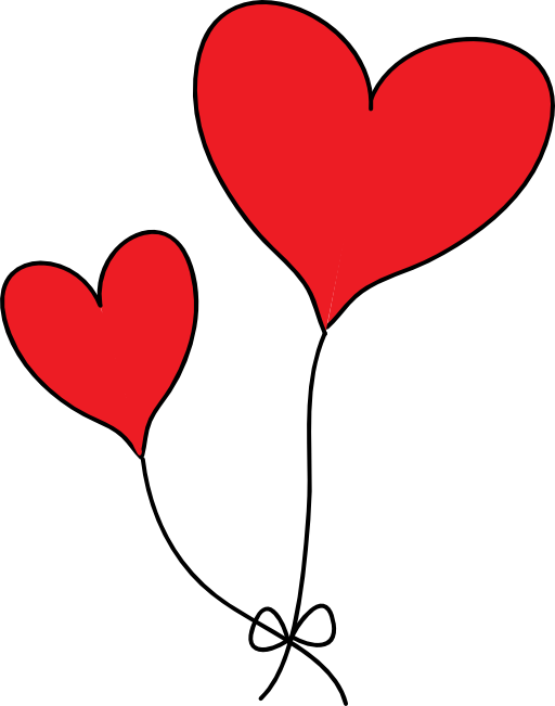 Two red heart balloons. Hearts clipart balloon