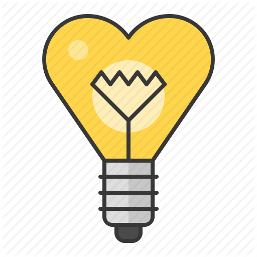 Bright electric lightbulb icon. Light bulb clip art heart