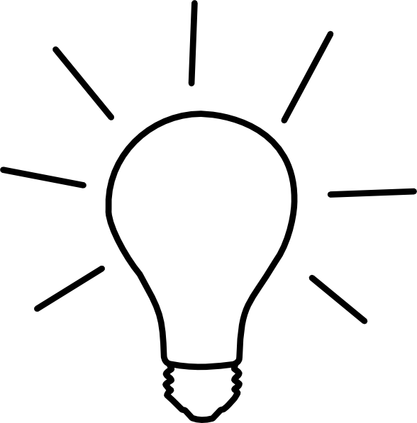 Light bulb idea icon. Flashlight clipart coloring page